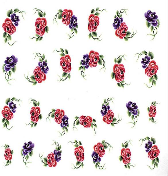 SENECIO® Multicolor Valentine Rose Ivy Love Nail Art Manicure Decals Slide Water Transfer Stickers 1 Sheet Size :6.2*5.2cm