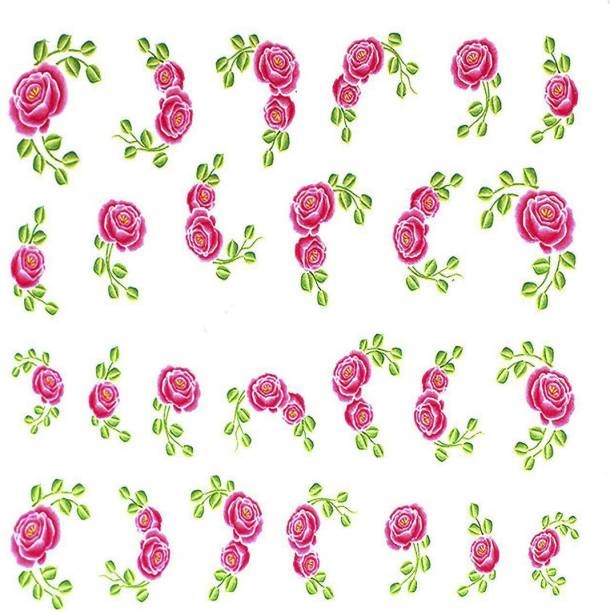 SENECIO® Green Leaves Pink Rose Valentine Love Nail Art Manicure Decals Slide Water Transfer Stickers 1 Sheet Size :6.2*5.2cm
