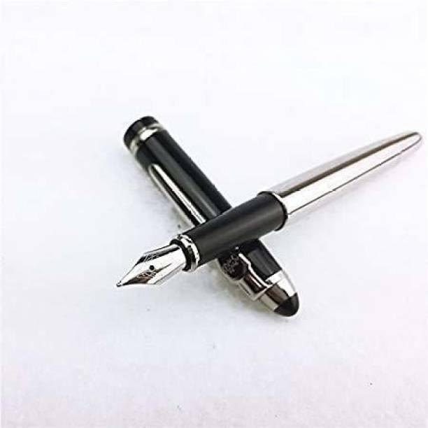 Gold Leaf Black Cap Steel Fountain Pen 18Kgp Dual Medium Nib Fountain Pen