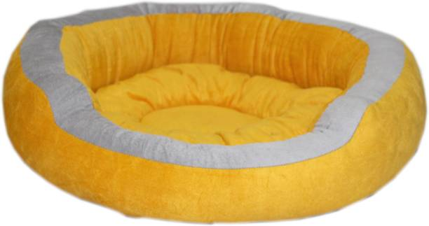 R.K Products LAKSH yellow_gry_patti_round L Pet Bed