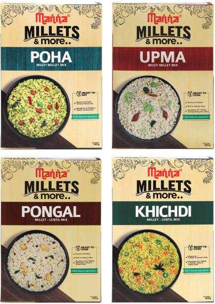 Manna Instant Millet breakfast - Combo Pack of 4 (12 Servings) - Millet Upma, Poha, Khichdi, Pongal (180g each) - 3 Servings per pack   100% Natural - No Preservatives/ No Artificial colour or flavours. 720 g