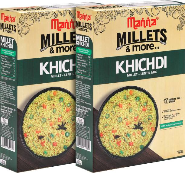 Manna Instant Millet breakfast - Ready to Cook Khichdi - 6 Servings. 100% Natural - No Preservatives/ No artificial colours, flavours or additives 180 g