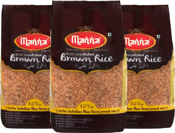 Manna Brown Rice - Premium Quality, Long Grain, Unpolished. 100% Natural. Naturally Low GI, High in Fibre. Helps Control Diabetes Brown Rice