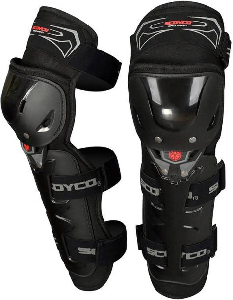 SCOYCO K11-1 Adjustable Knee and Shin Guards Protection Guard with Pads Flexible Breathable High-Impact Knee Pads for Motorcycle/Bike Knee Guard, Elbow Guard Knee Guard Free Black
