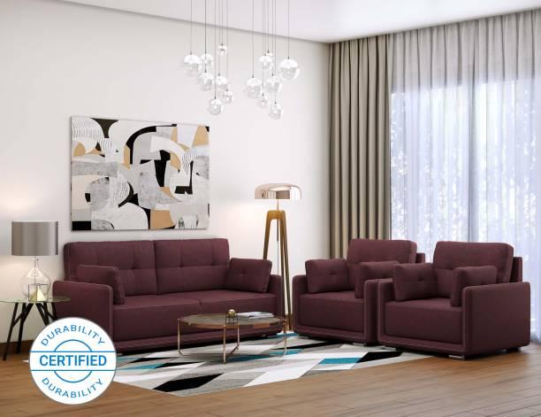 MUEBLES CASA Cedar Leatherette 3 + 1 + 1 Cherry Sofa Set