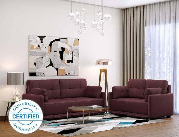 MUEBLES CASA Cedar Leatherette 3 + 2 Cherry Sofa Set