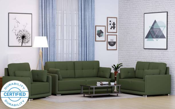 MUEBLES CASA Cedar Leatherette 3 + 2 + 1 Green Sofa Set