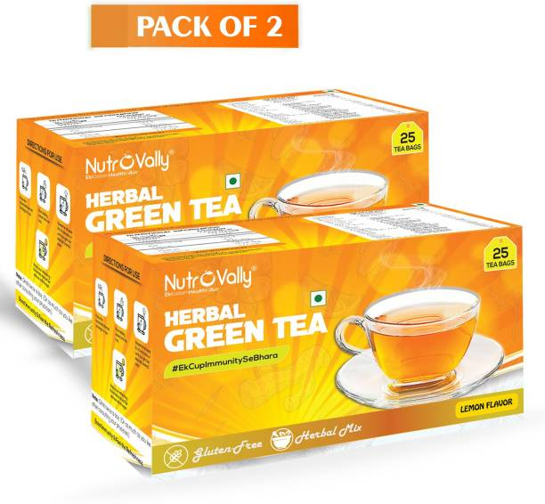 NutroVally Herbal green tea for weight loss & Build Immunity | Premium tea leaves with 18 Active Ingredients (herbal tea bag) Lemon Herbal Tea Bags Box