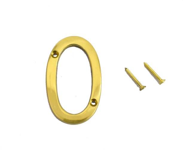 "Wigano WIGANO 3"" House Door Numbers Brass Yellow (Number 0) Sign"