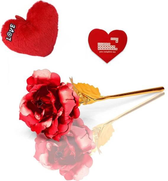 Saikara Collection Artificial Flower, Cushion, Greeting Card Gift Set