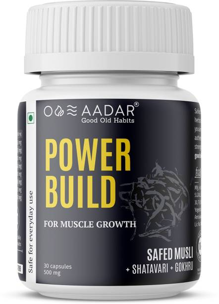 AADAR POWER BUILD | Ayurvedic Muscle Gain Capsules | Helps in Muscle Recovery and Improves Performance | 30 Capsules
