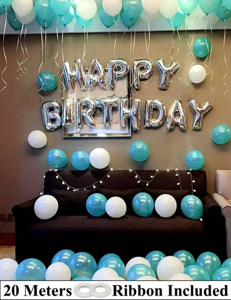DECOR MY PARTY Solid Happy Birthday Letter Foil Balloon Set with LED Fairy Lights , Aqua & White Metallic Balloons & Curling Ribbon for Birthday Party Decoration / 1st Birthday Decorations Kit for Baby Girl Letter Balloon