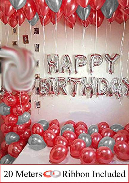 DECOR MY PARTY Solid Happy Birthday Silver Letter Foil Balloon Decorations Kit With Red Metallic Balloons & Curling Ribbon For Birthday Party Decoration Letter Balloon