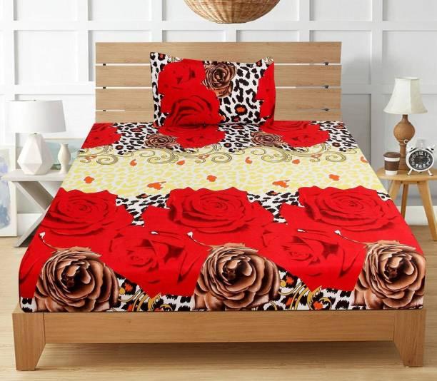 VAS COLLECTIONS 144 TC Microfiber Single Floral Bedsheet