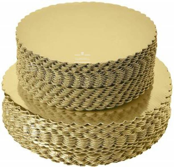 CLAM SHELL Round Cake Base Boards Gold Paper Cake Server