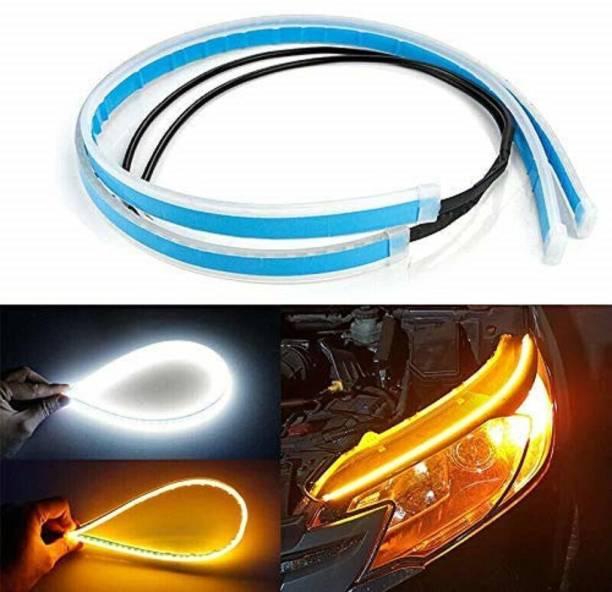 Car- Dec Car Led Strip White Daytime Running Light, Turn Signal Yellow/amber Indicator Light Lamp Drl 12v (Left & Right) Car Fancy Lights
