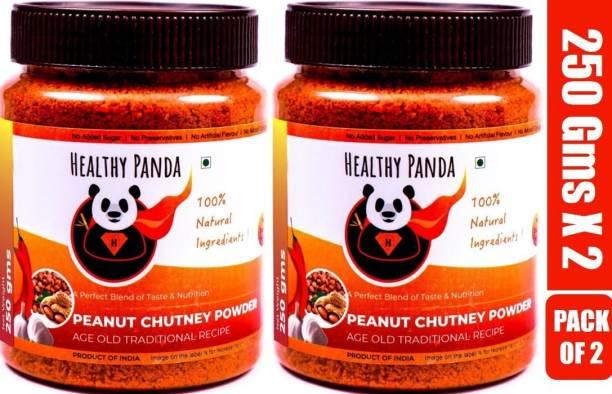 HEALTHY PANDA Peanut Garlic Chutney Powder or Groundnut Chutni Powder also famously known as Shenga Chatni in Uttar Karnataka (100% Natural & Healthy) - 250 Gram, Pack of 2 Chutney Powder