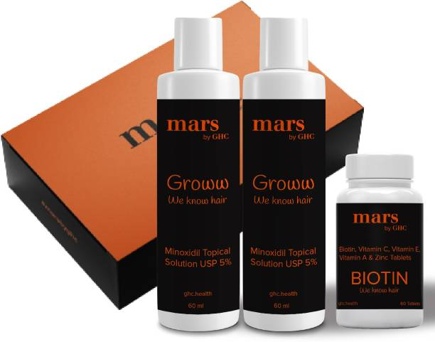 mars by GHC Hair Growth 2-Months Kit   Minoxidil 5% Serum (Pack of 2), Biotin for hair Growth (60Tablets)   For Healthy & Strong Hair