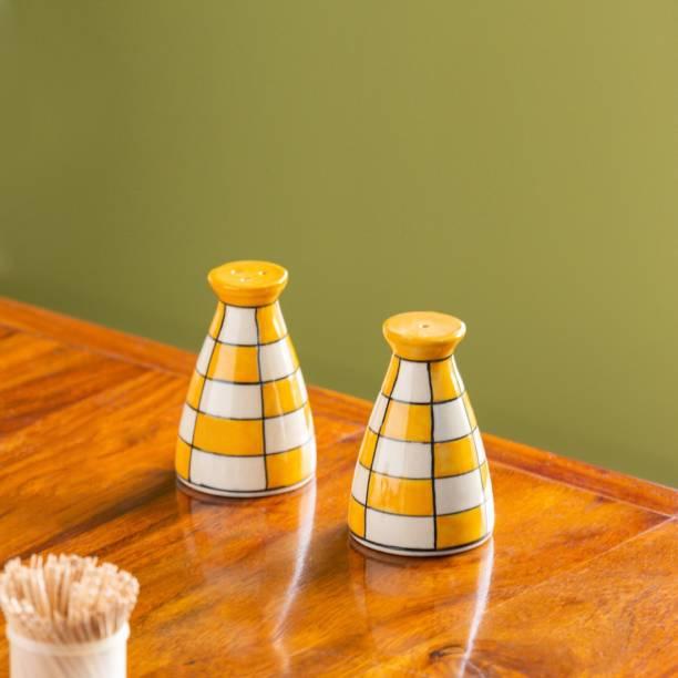 ExclusiveLane 'Shatranj Checkered' Hand-painted Salt & Pepper Shakers In Ceramic (Set of 2, 70 ML) 2 Piece Salt & Pepper Set