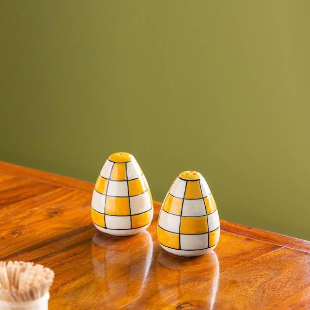 ExclusiveLane 'Shatranj Checkered' Hand-painted Salt & Pepper Shakers In Ceramic 2 Piece Salt & Pepper Set