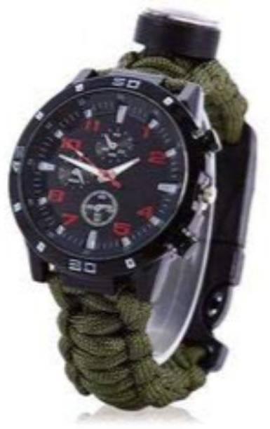 Udee 5 in 1 Outdoor Survival Watch Bracelet with Compass Flint Fire Starter Striker Included