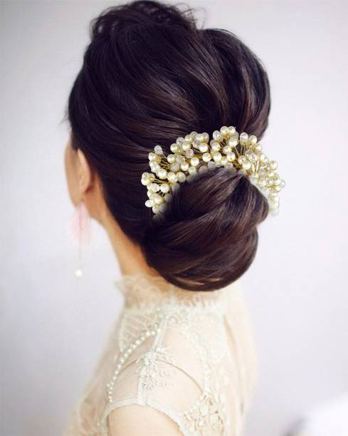 VAGHBHATT Fashion Jewellery Floral Stone Hair Chain Clip with Pins accesories for Women and Girls Bun