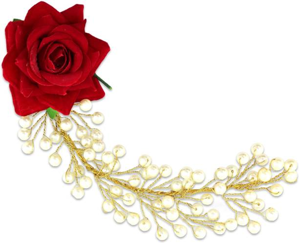 VAGHBHATT Red Rose Party Bridal Fancy Hair Clip Headband Hair Accessories Tiara for Women and Girls (1Line Flower) Hair Chain