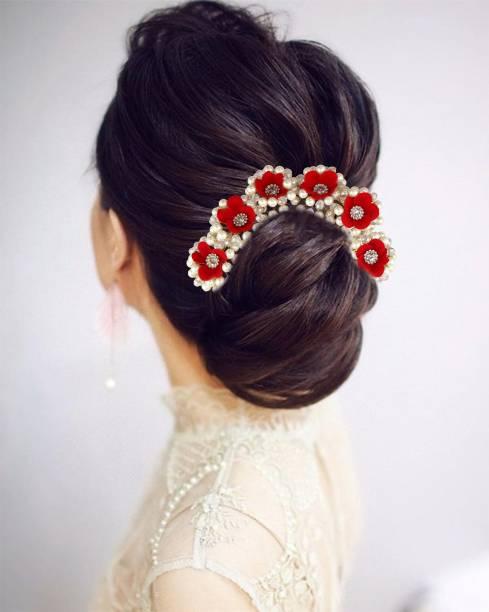 VAGHBHATT 6 Red Flower Party Bridal Fancy Hair Clip Hair Accessories Tiara Accessories for Women Pins Artificial White Stone Flowers Accessories Bun