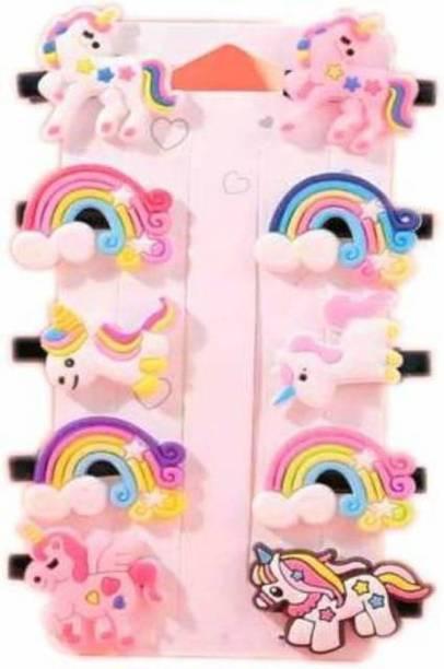 Maanya Enterprise 10pcs Rainbow Unicorn Ice Cream Hair Clips Set Baby Hairpin For Kids Girls Toddler Barrettes Hair Accessories Hair Clip (Multicolor) Hair Accessory Set