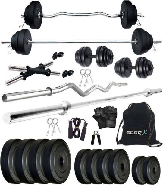 Star X 70 kg PVC weight with 3ft Curl Rod, 5ft Straight Rod and Accessories Home Gym Combo