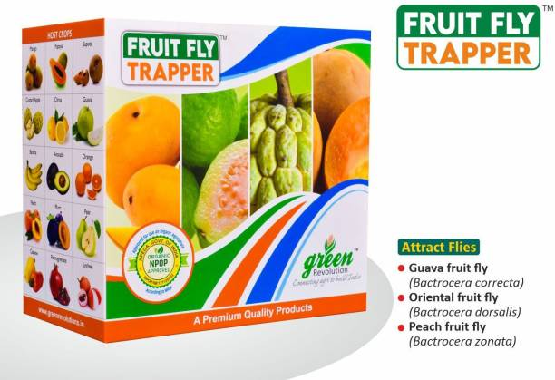 Green Revolution Fruit Fly Trapper (Fruit Fly Pheromone Trap) Complete for one acre pack of 10