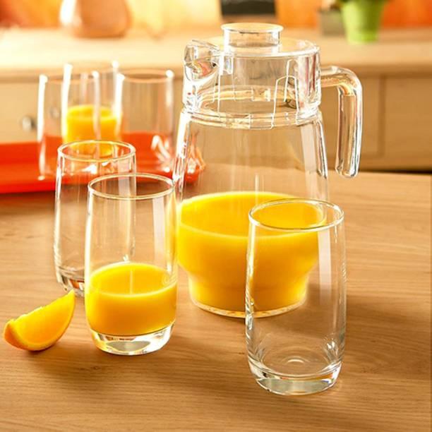 n Glassware Imported Crystal Glass Carafes & Pitchers Jug (1.3 L) 6 Glass (300 ml) Jug Glass Set (GLASS) Jug Glass Set