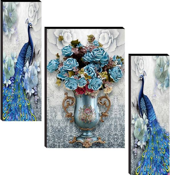 SAF Peacock Set of 3 Digital Reprint 12 inch x 18 inch Painting