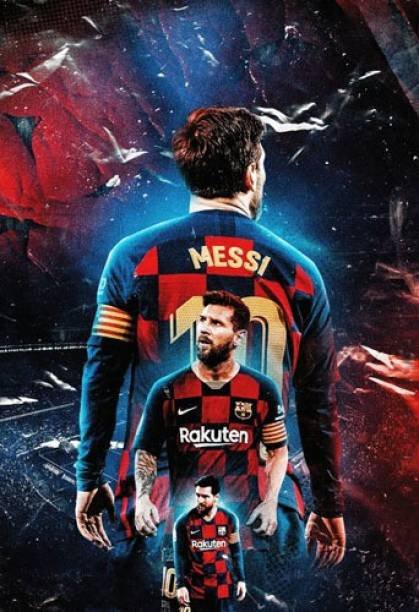 Lionel Messi Wall Poster For Home And office Décor With Gloss Lamination Print on 300gsm Thickness Paper (Size 13 Inch X 19 Inch, Rolled), Multicolor Paper Print