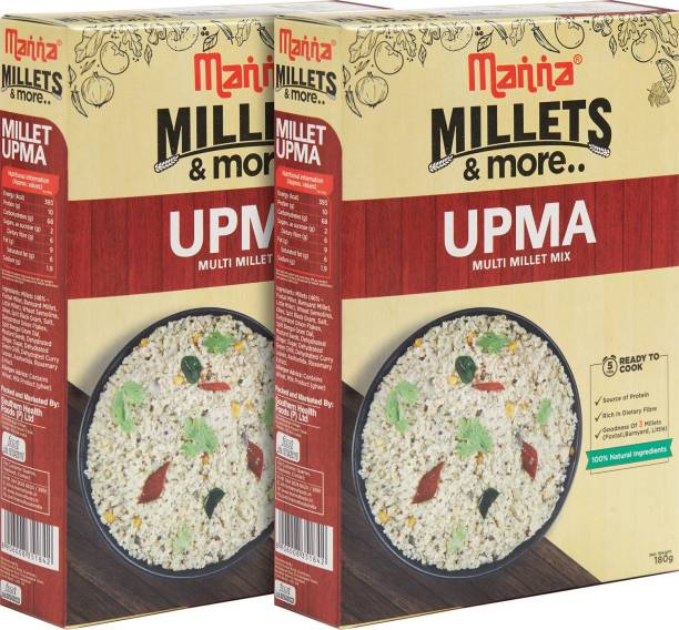 Manna Instant Millet breakfast - Ready to Cook Upma - 6 Servings. 100% Natural - No Preservatives/ No artificial colours, flavours or additives 180 g