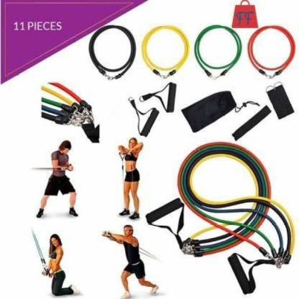 K Sports 11 Pcs Resistance Bands Set - for Ultimate Workout Resistance Tube (Multicolor) Resistance Tube