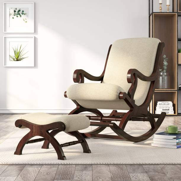 House of Pataudi Rosewood (Sheesham) Rocking Chair with Footrest and Cushion || Wood Rocking Chair for Living Room || Home Decor || Easy Chair || Modern Style Chair Solid Wood 1 Seater Rocking Chairs
