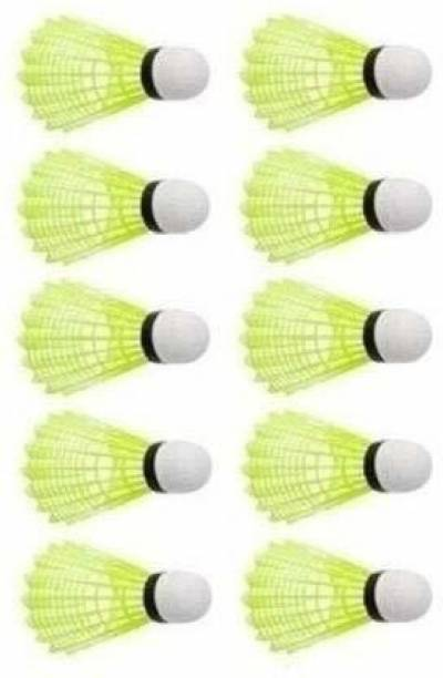 K Sports Plastic Shuttlecock Green Pack of 10Pc Plastic Shuttle  - Green