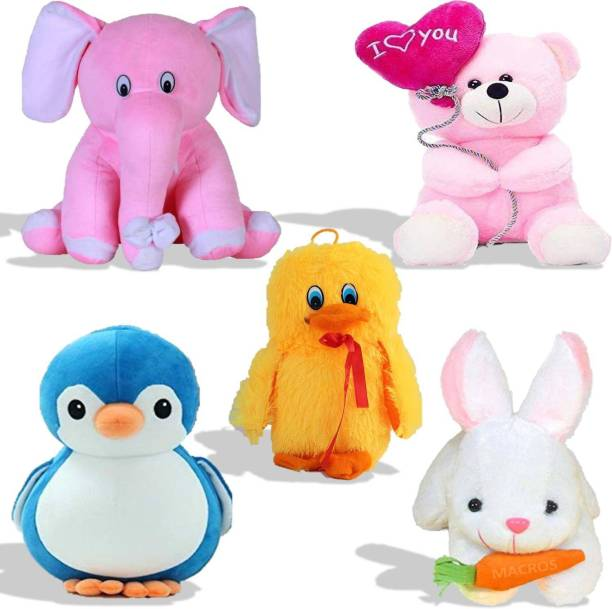 Macros Premium Quality Special Combo In Low Budget for Kids Baby Elephant, Balloon teddy, Duck, Penguin, Rabbit (Pack of 5). Teddy bear  - 25 cm