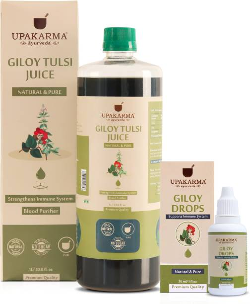 UPAKARMA Ayurveda Immunity Combo of Giloy Juice 1L and Giloy Drops 30ml Natural Herbs for Building Immunity