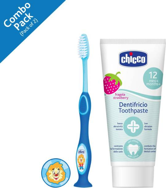 Chicco Toothpaste, Strawberry Flavour for 12m+ Baby, Fluoride-free, Preservative-free (50 ml), and Toothbrush (Assorted colors)
