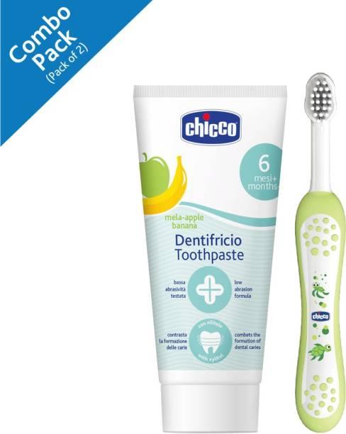 Chicco Toothpaste (Mela-Applebanana), 50ml,and Toothbrush 6m- 3yrs Green ( Pack of 2)