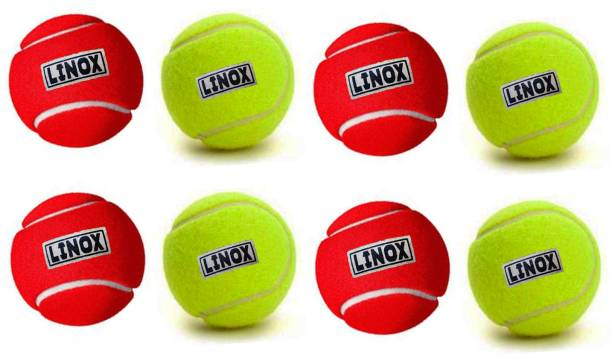 LINOX tennis cricket ball red and day night green set of 8 Cricket Tennis Ball