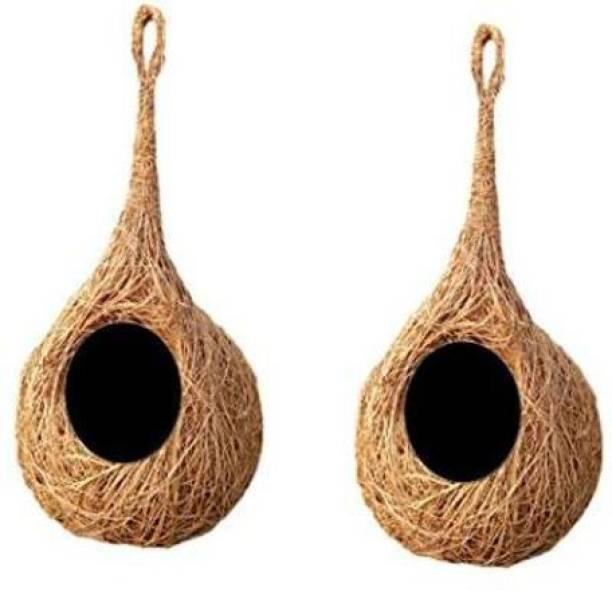 KAPOOR PETS Safest Round Organic Bird Nest Purely Handmade Love Birds/Sparrow (Brown) -Set of 2 Bird House