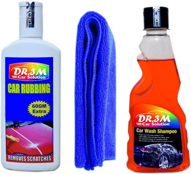 dr.3m CAR WASH SHAMPOO 250ml.+CAR RUBBING 200gm.(60gm EXTRA)+MICROFIBER CLOTH (BLUE). Combo