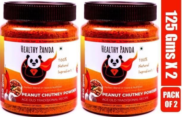 HEALTHY PANDA Peanut Garlic Chutney Powder or Groundnut Chutni Powder also famously known as Shenga Chatni in Uttar Karnataka (100% Natural & Healthy) - 125 Gram, Pack of 2 Chutney Powder