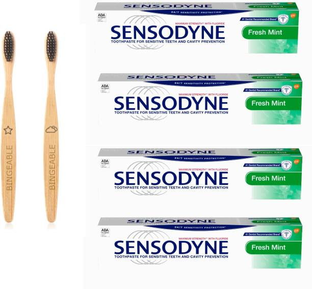 Sensodyne Fresh Mint Toothpaste 150g/Each (pack of 4) & Bingeable Natural Charcoal Bamboo Soft Bristle Toothbrush (2 Pack)
