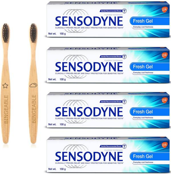 Sensodyne Fresh Gel Toothpaste 150g/Each (pack of 4) & Bingeable Natural Charcoal Bamboo Soft Bristle Toothbrush (2 Pack)