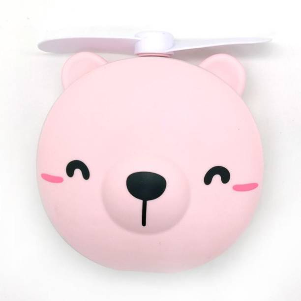 Renyke Mini Carton Make Up Mirror with LED Lights USB LED Cosmetic Mirror Fan
