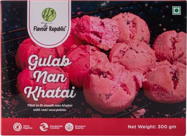The Flavour Republic GULAB NAN KHATAI - 600 gms(Combo Pack 2*300 gms) Pure Vegetarian PremiumNan Khatai Cookies